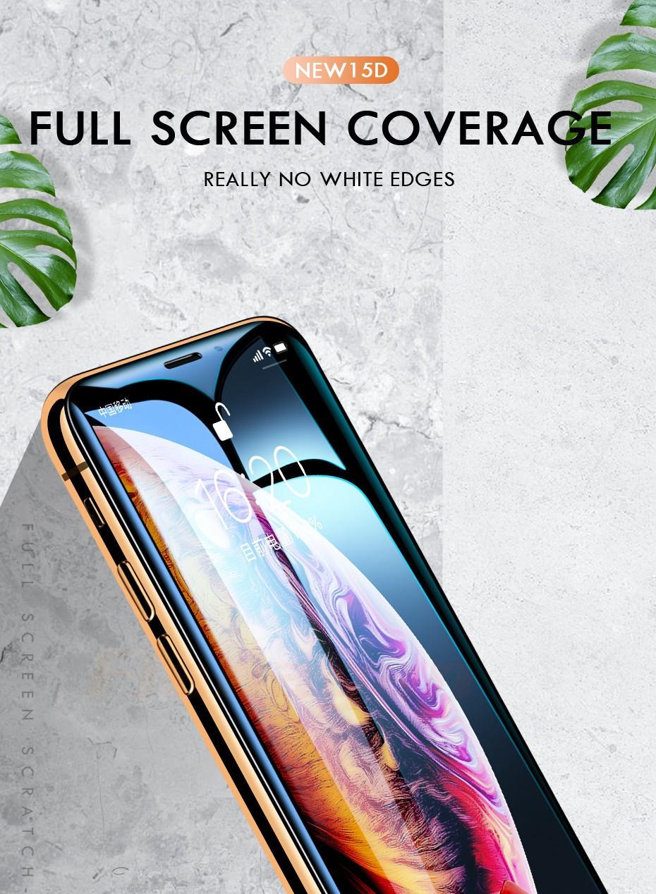 Защитное стекло 15D для iPhone 6 7 8 plus XR X XS, стекло с полным покрытием для iPhone 11, 12 Pro Max, защита экрана, закаленное стекло