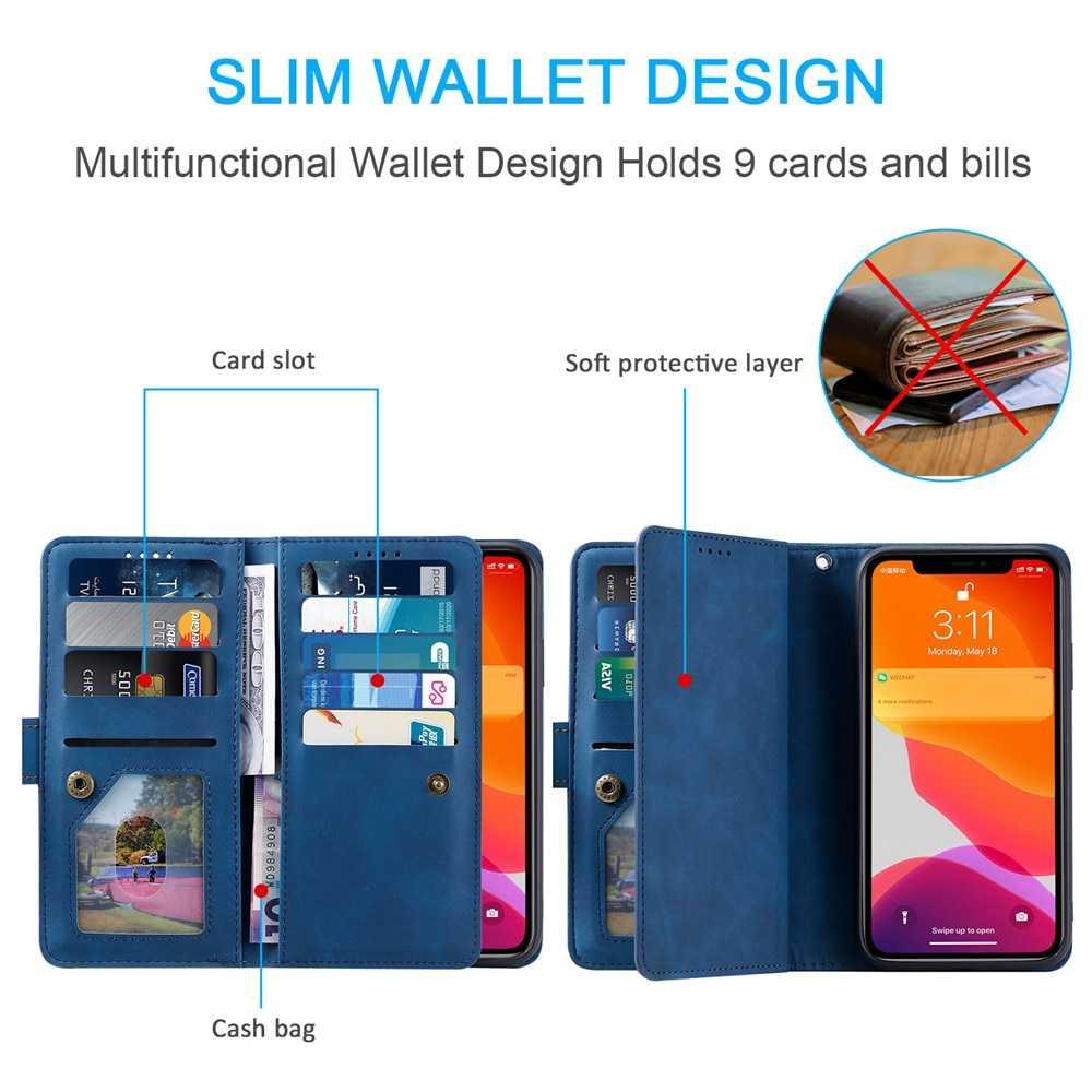 Роскошный кожаный чехол-кошелек на молнии для iPhone 12 Mini 11 Pro XS Max XR X SE 2020 8 7 6 6s Plus, чехол-подставка для телефона с отделением для карт